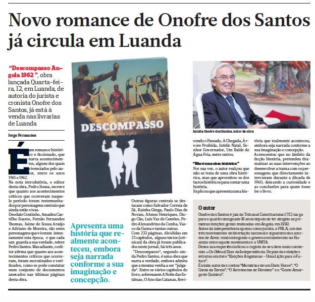 Novo Romance de Onofre dos Santos já circula em Luanda